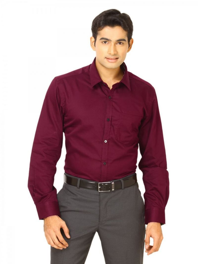 Buy Hi Lifestyles...valentine Gifts..the Very Stylish Maroon Shirt For Men online