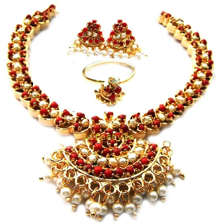 Buy Gold Plating Coral & Pearls Set Online | Best Prices in India ...