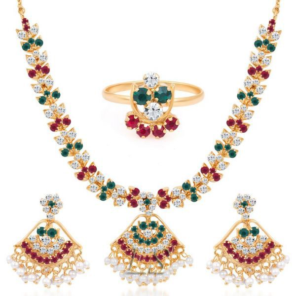 Buy Gold Plated Ad Necklace-earring-ring Set online