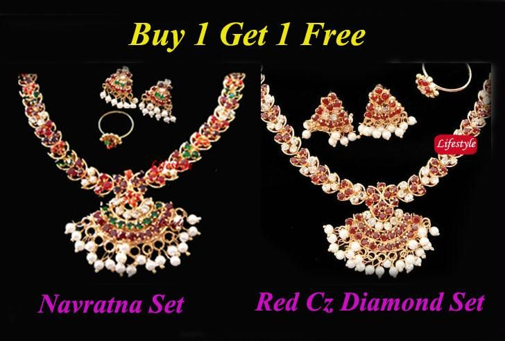 Buy Sizzling Ethnic Offer...navratna Set With Cz Diamo online