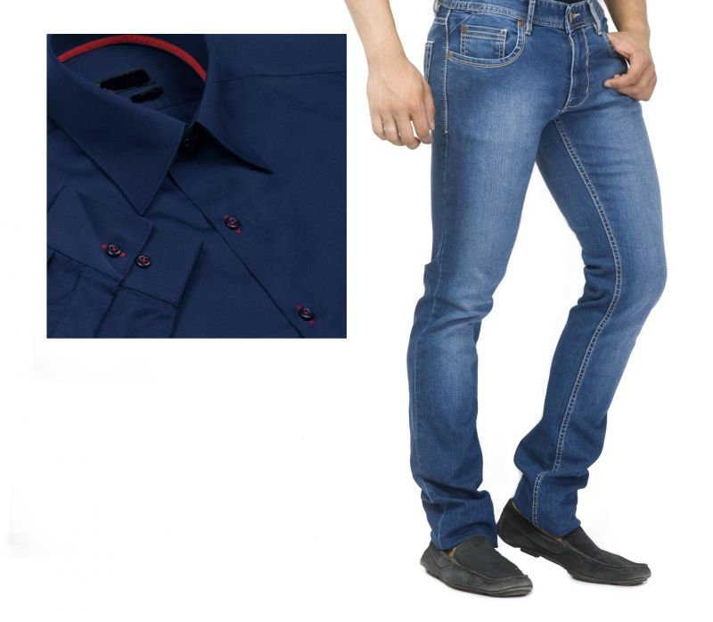 Buy Buy Branded Blue Jeans And Get Navy Blue Full Sleeves Shirt ...