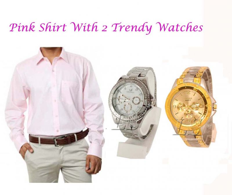 Buy Pink SHIRT With 2 Trendy Watches online