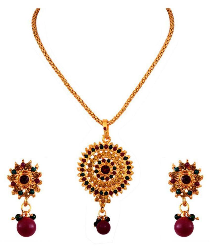 Buy Beautiful Emerald & Ruby Stones Pendant Set online