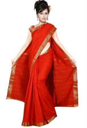 Buy Ethnic Red Art Silk Saree For Your Mother online