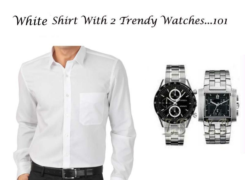 Buy White Shirt with 2 Trendy watches online