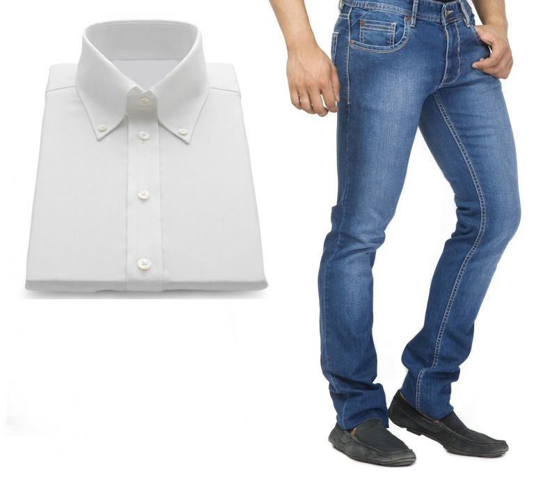 Buy Buy Branded Blue Jeans And Get White Full Sleeves Shirt Free...hijs1 online