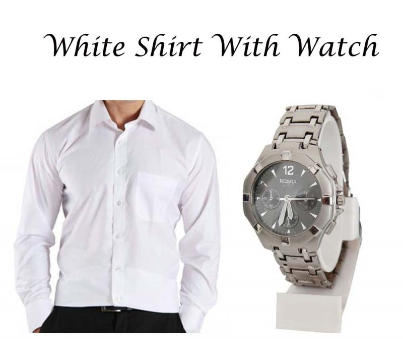 Buy Stylish White Shirt With Stylish Watch...120 online