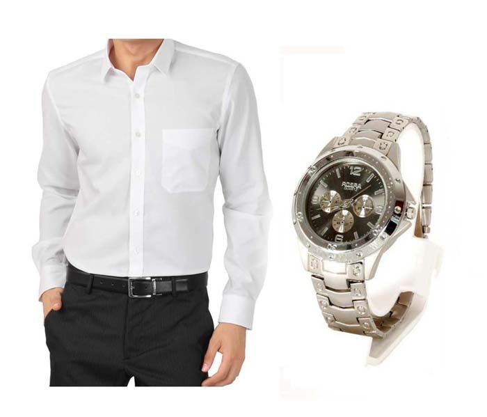 Buy Buy  1 White Shirt And Get 1 Stylish Watch Free online