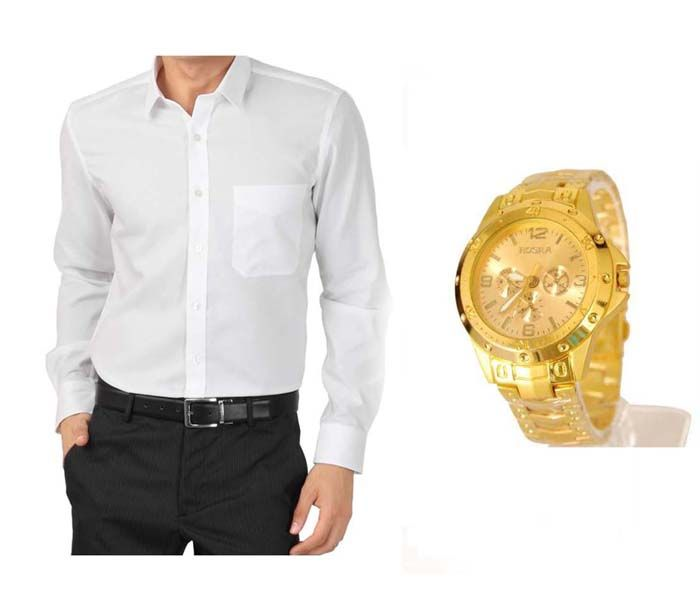 Buy Buy 1 White Shirt And Get 1 Stylish Watch Free ....ls232 online