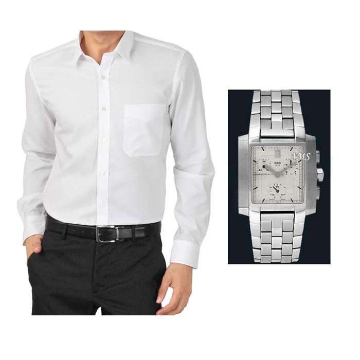 Buy Buy 1 White Shirt And Get 1 Stylish Watch Free ...ls249 online