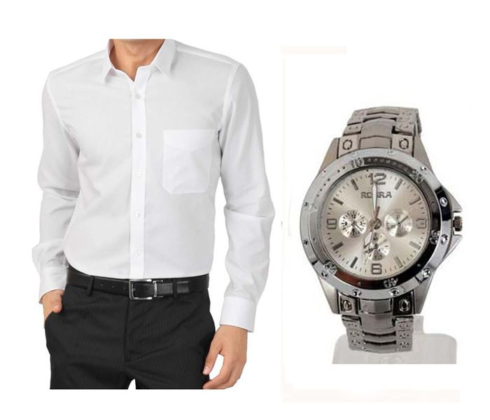 Buy Buy 1 White Shirt And Get 1 Stylish Watch Free ....ls206 online