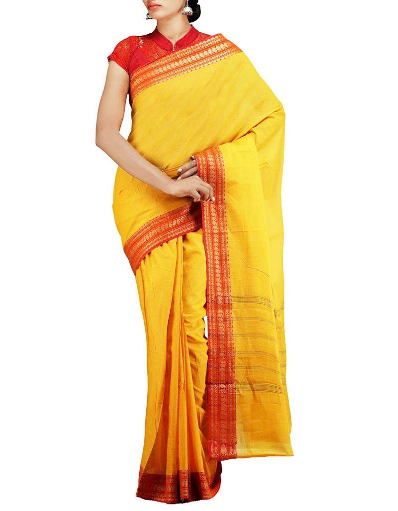 Buy Hi Lifestyles Ethnic Yellow Pure Cotton Saree (yellowcottonsaree) online