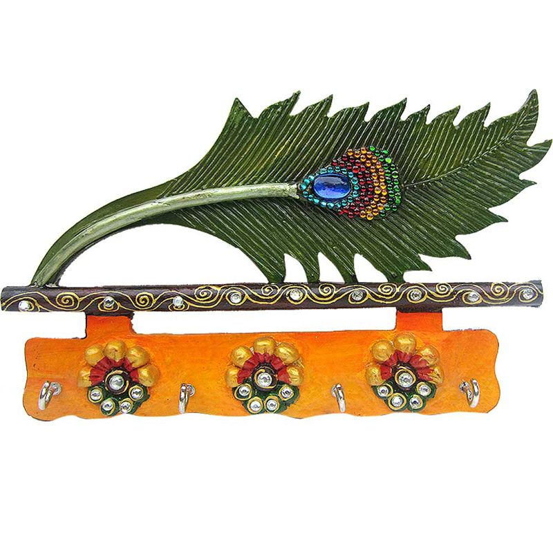 Buy Peacock Feather Colorful Key Holder Door Wall Hanging online
