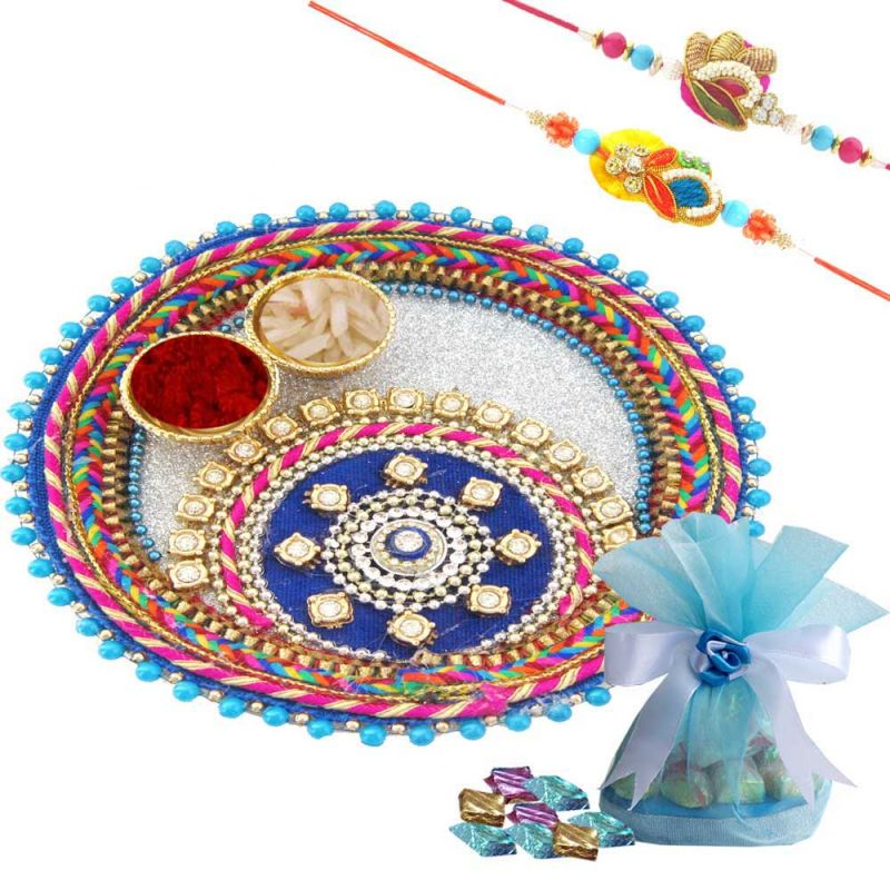 Buy Rakshabandhan Pink Color Rakhi Thali With Chocolates N Two Rakhi online