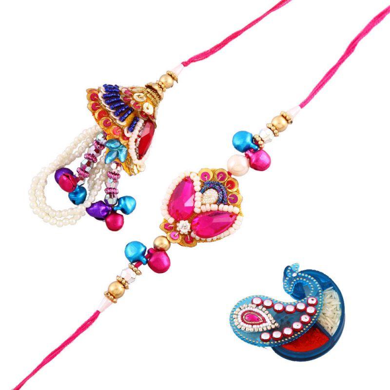 Buy Rakshabandhan Bhayia Bhabhi Stunning Rakhi With Pearl N Ghunghroo online
