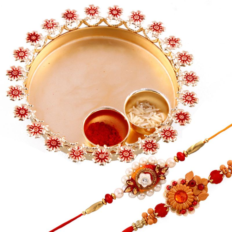 Buy Rakshabandhan Gorgeous Rakhi Tikka Thali With Trendy Rakhis online