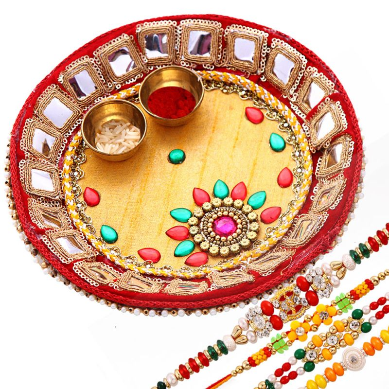 Buy Rakshabandhan Traditional Tikka Thali With Pearl N Beads Rakhis online