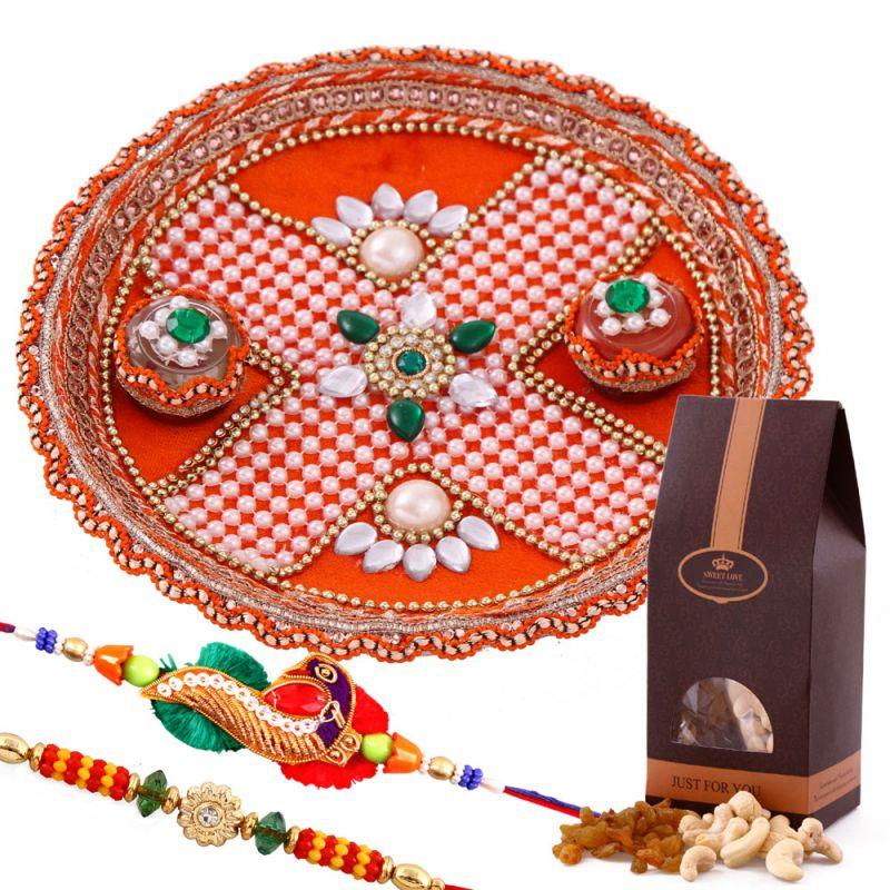 Buy Rakshabandhan Rakhi Tikka Thali With Assorted Dryfruits online