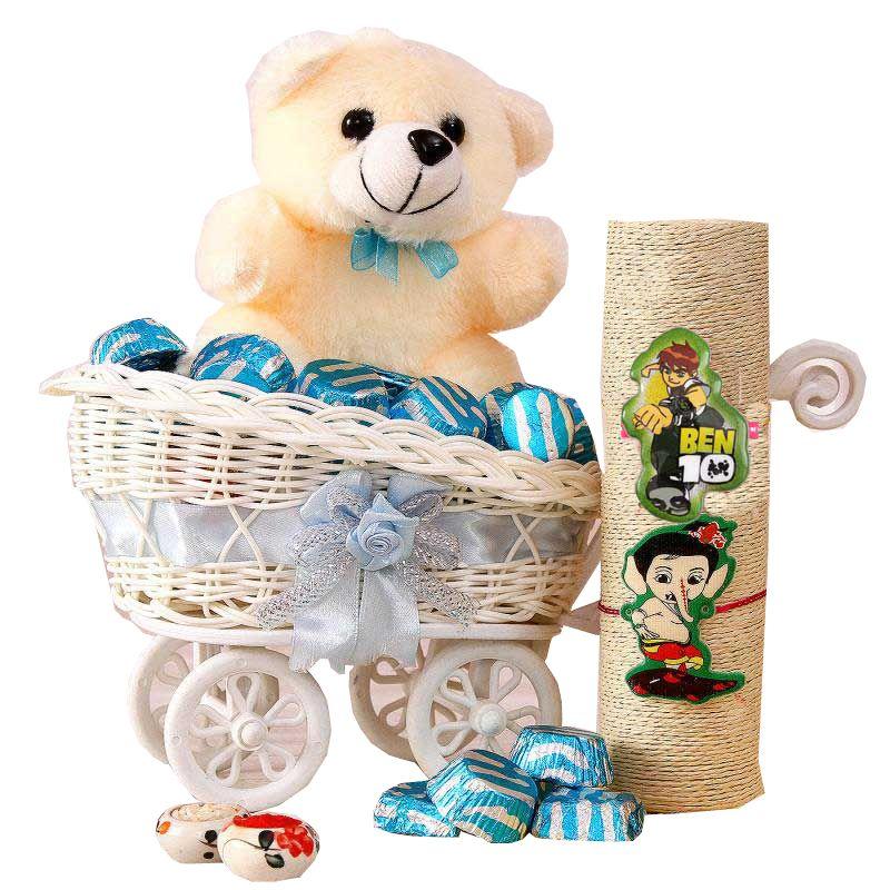 Buy Rakshabandhan Kids Rakhi Hamper With Chocolate N Toy online