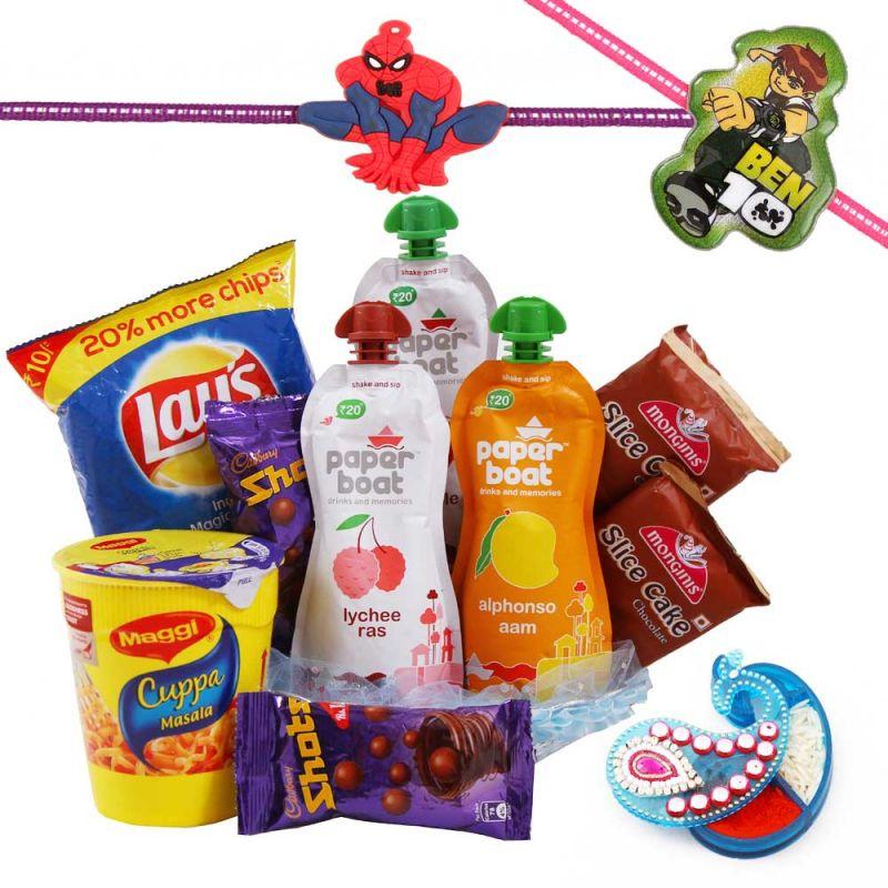 Buy Rakshabandhan Kids Rakhi Hamper With Cakes N Namkeen online