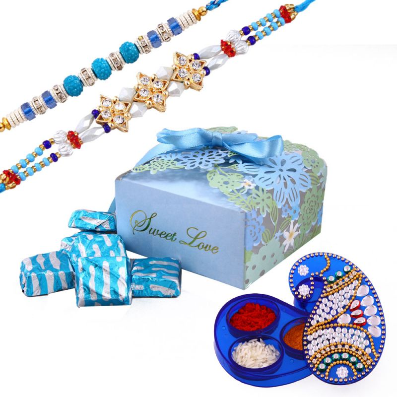 Buy Rakshabandhan Assorted Chocolate Hamper With Dashing Rakhi online