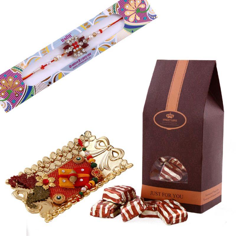 Buy Rakshabandhan Assorted Chocolate Hamper With Elegant Rakhi online
