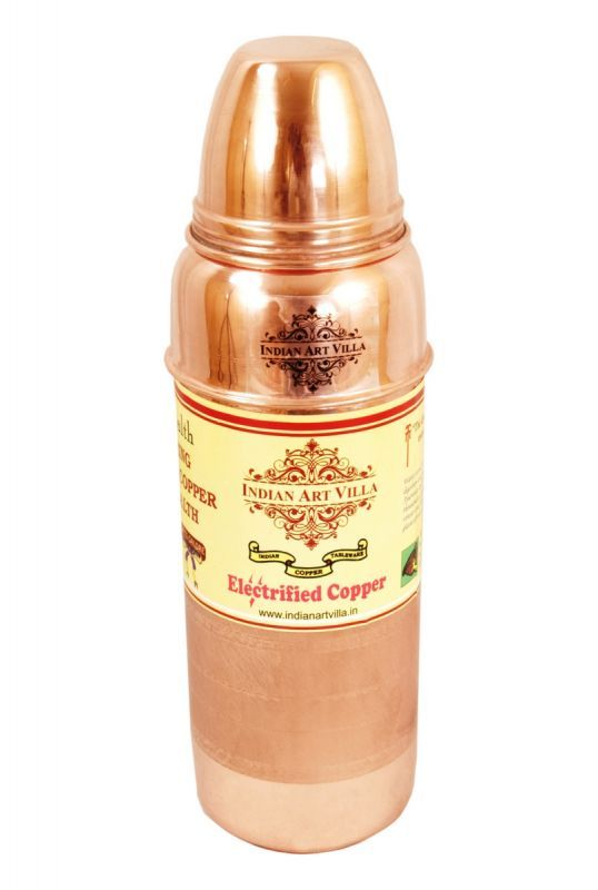 Buy Indian Art Villa Pure Copper Bottle-9.8 X 2.8 X 9.5 online