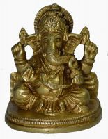 Buy Beautiful Small Gold Finish Brass Ganesha/ganesh Oval Base Figurine Hindui online