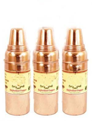Buy Pure Copper Leak Proof Joint Free Set Of 3 Water Bottle 900 Ml Yoga Ayurved online