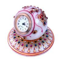 Buy Sunshine Rajasthan Gold Painted Handmade Round Marble Table Clock 177 online