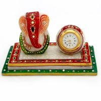 Buy Sunshine Rajasthan Meenakari Ganesha Marble Chowki N Table Watch Set online