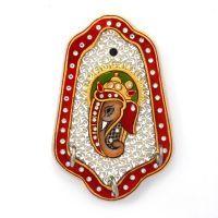 Buy Gold Meenakari Painted Ganesha Marble 3 Key Holder 375 online