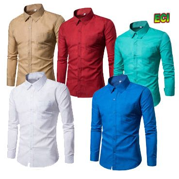 Buy Assorted Formal Plain PC Cotton Shirts - Pack Of 5 online