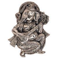 Buy Sunshine Rajasthan Oxidized White Metal Lord Ganesha Sitar Idol 312 online