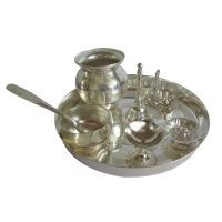 Buy Silver Finished Plated Pooja Thali For Puja online