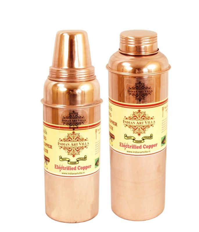 Buy Pure Copper Set Of 2 Water Health Bottles 700 Ml For Storage Water Health online