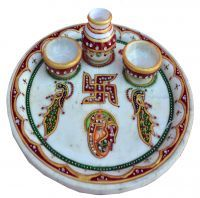 Buy Round Marble Puja Thali online
