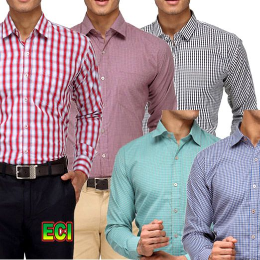Buy Pack Of 5 Assorted Formal Shirts For Mens (stripes Checks) online