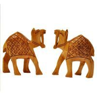 Buy Sunshine Rajasthan Hand Carved Wooden Camel Pair Handicraft Gift - 128 online