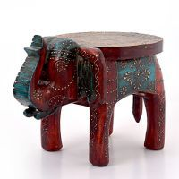 Buy Designer Wooden Elephant Stool Handicraft Gift 304 online