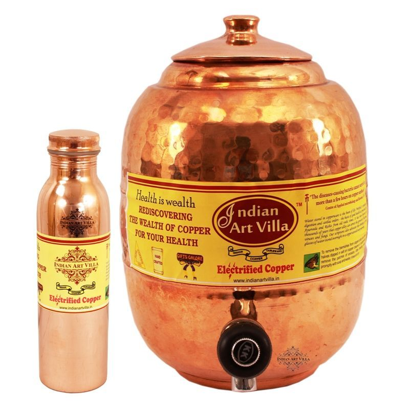Buy Copper Water Pot Tank 5.5 Ltr with 1 Leak Proof Joint Free Water Bottle 900 Ml online