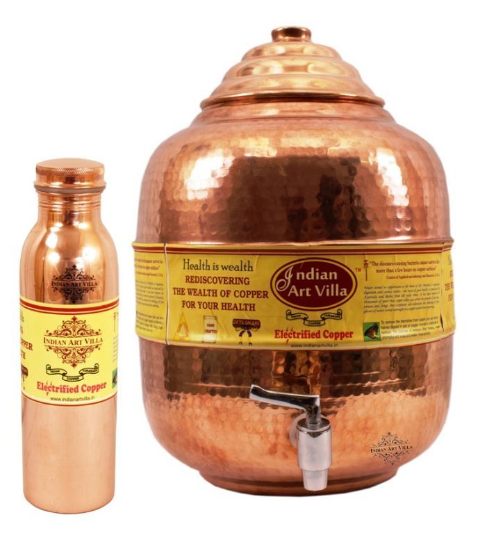 Buy Copper Water Pot Tank 10 Ltr with 1 Leak Proof Joint Free Water Bottle 900 Ml online