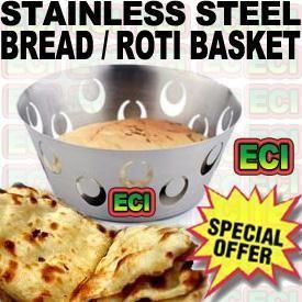 Buy Stainless Steel Bread Basket For Serving Roti Naan online