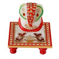 Buy Perfect Diwali Gift Mrble Ganesha With Chauki online