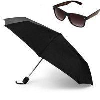 Buy Branded 3 Fold Full Size Automatic Umbrella With Black Wayfarer Sunglasses online