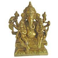 Buy Shree Ganesha With Riddhi Siddhi Brass Statues,god Idol For Pooja,mandir online