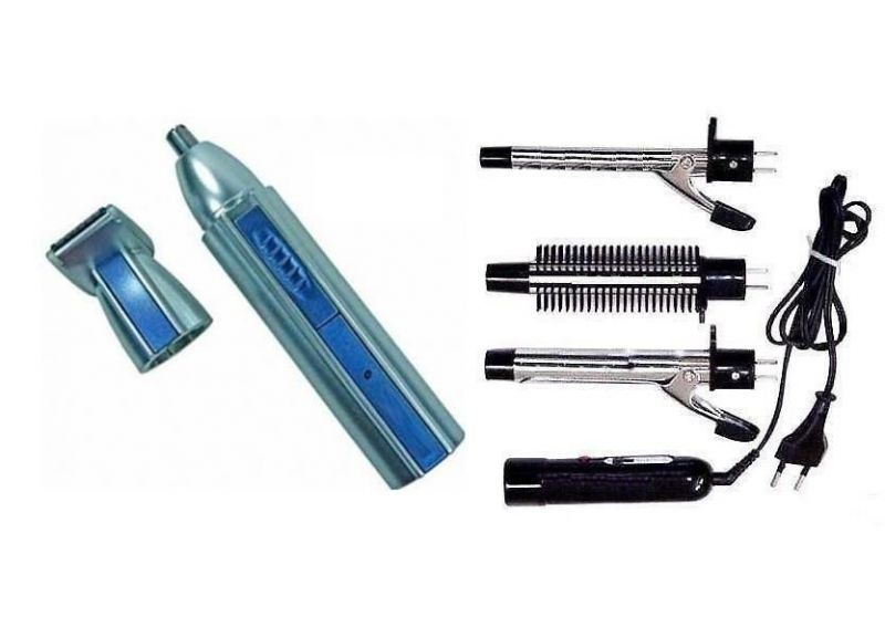 Buy Nose & Ear Hair Trimmer Rechargeable Battery With 3-in-1 Curling Iron & Bru online
