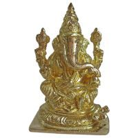 Buy Lord Ganesha Gold Finish Brass Statue online