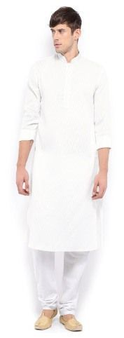 Buy Korel White Cotton Kurta Pajama Set For Men - Korel-white-kurta-pajama online