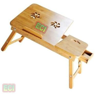 Buy Portable Laptop Table Wooden Foldable, Air Vents Cuts, Tiltable, Drawer online
